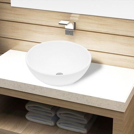 Bassin d'évier rond céramique Blanc pour salle de bain - 141928 - Plomberie sanitaire chauffage