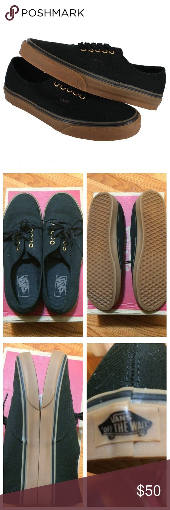 Black mens vans Black gum rubber us mens 10.5/ women's 12. Only worn twice. The only scuff is in pic 4. Vans Shoes