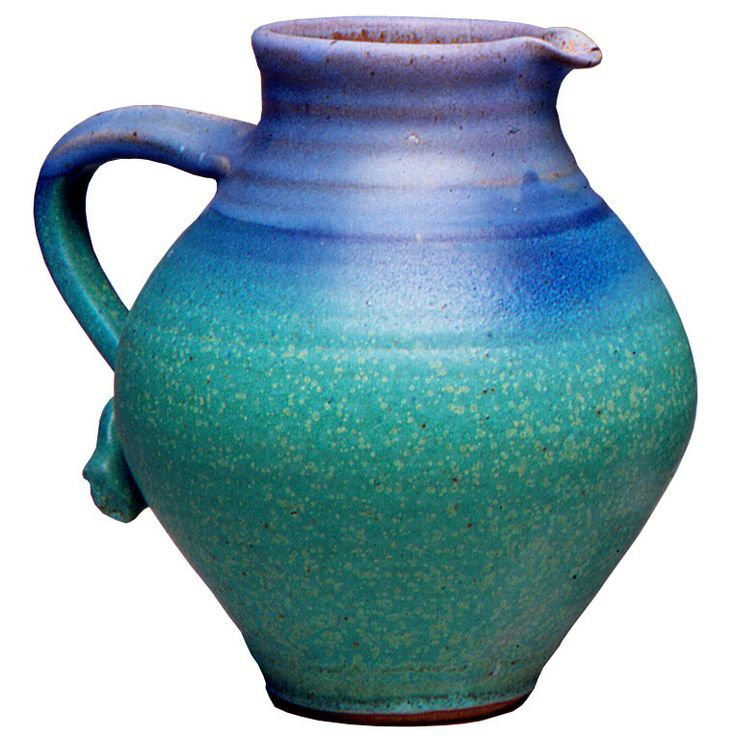 Maishe Dickman Hand Thrown Stoneware Turquoise Pitcher Fat, Artistic Artisan Pottery