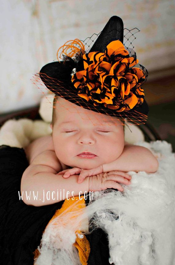 Mini Couture Witch Hat Headband 6 wide photo prop by AMOSandSAWYER, $20.00