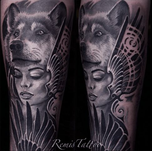 Wolf Tattoos. Insane work by Remis. #inked #inkedmag #tattoo #wolf #realism #idea #animal