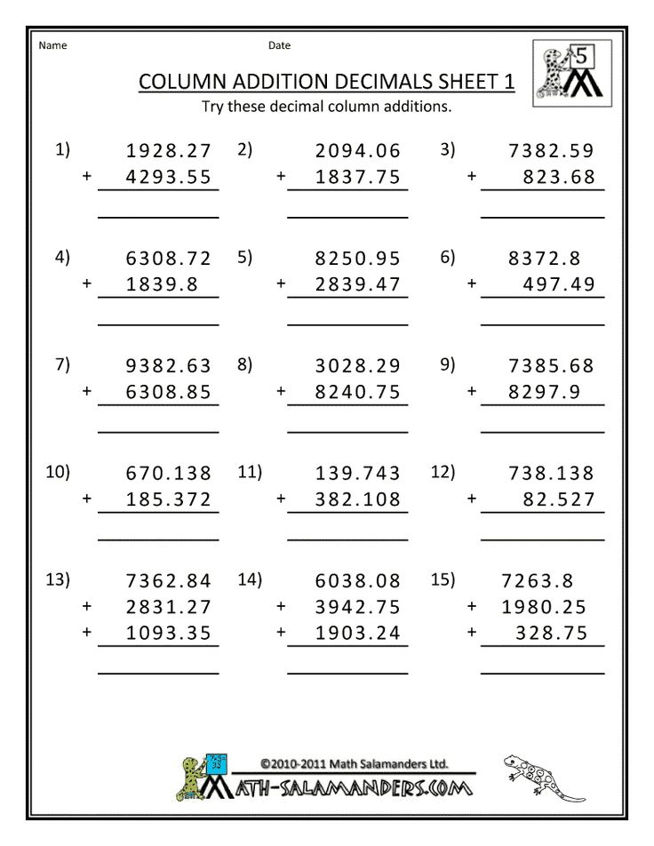 Worksheets For Grade 5 Scalien – Addition Worksheets Grade 5