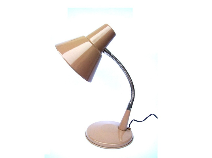 1970s TABLE LAMP made of metal, workshop lamp, desk lamp, light grey - brown colour,  NOS. $35.00, via Etsy.
