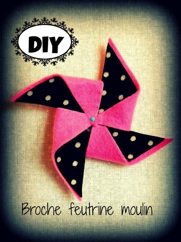 DIY: broche moulin en feutrine et tissu ........