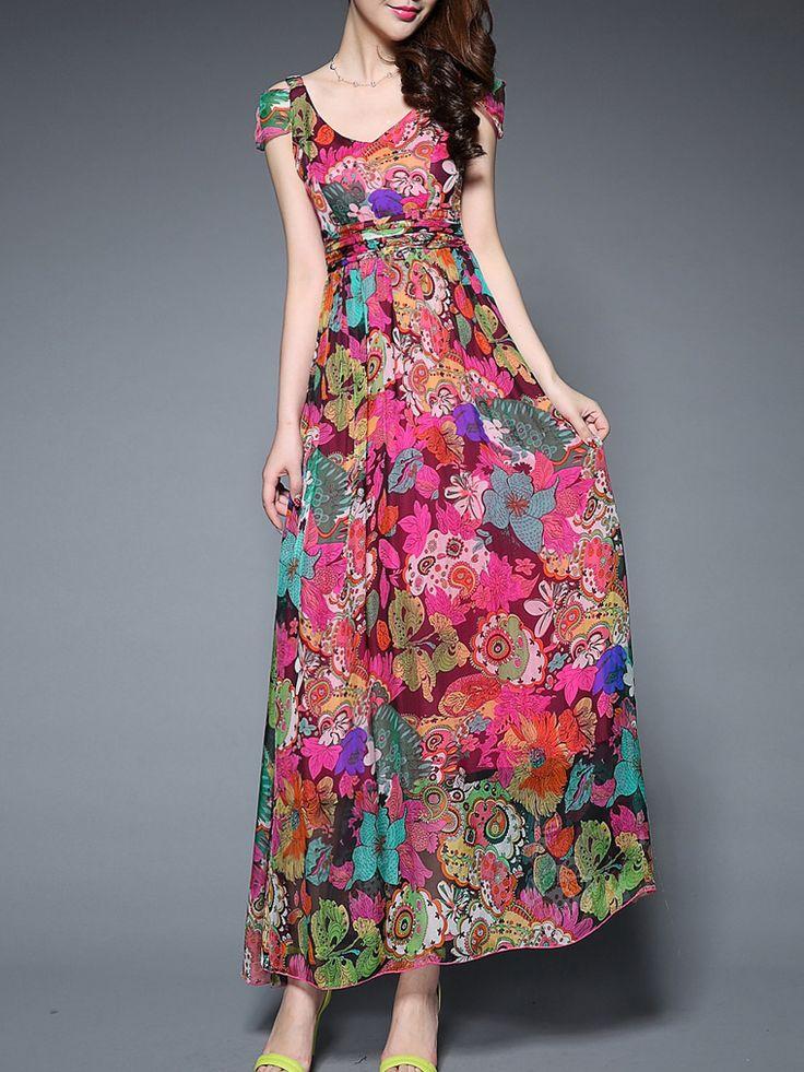 Multicolor Off The Shoulder V Neck Backless Print Maxi Dress 62.99