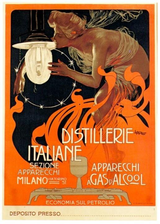 Distillerie Italiane, by Leopoldo Metlicovitz (1890)