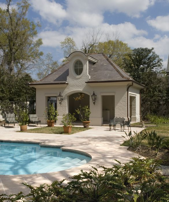 pool house with character french country to match the main house