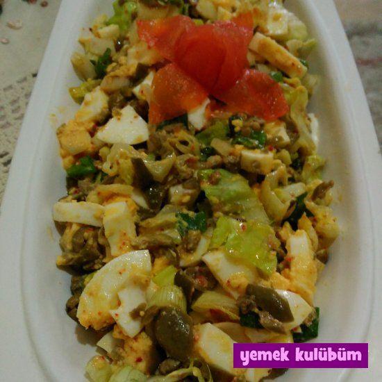 Yeşil Zeytinli Yumurta Salatası nasıl yapılır, resimli Yeşil Zeytinli Yumurta Salatası yapımı yapılışı, Yeşil Zeytinli Yumurta Salatası tarifi #yumurtalıtarifler #yumurta #yeşilzeytin #zeytinlitarifler #zeytinlisalatalar #yumurtalısalatalar
