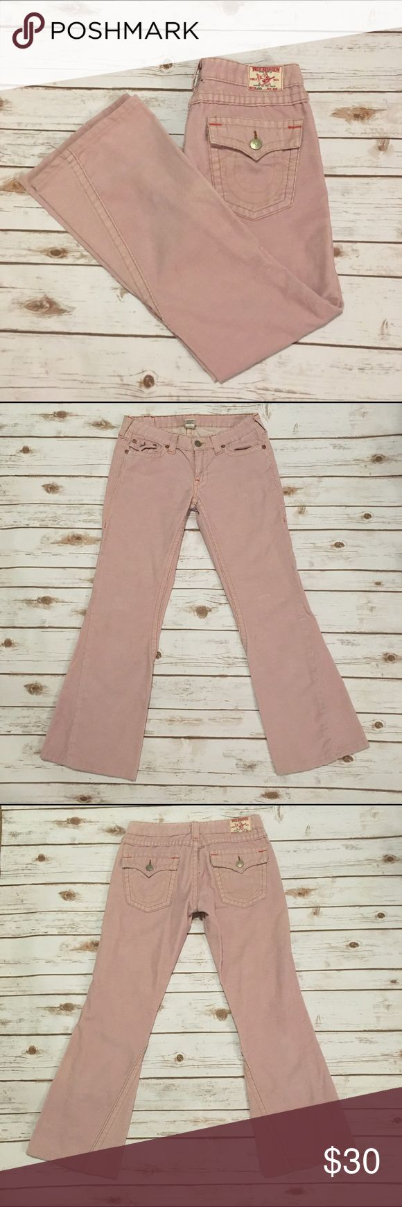 "True Religion pink Joey cords True Religion Pink Joey cords 🌟Size- Women's 30 🌟Flat Measurements- 15"" waist 8"" rise 29"" inseam 🌟Material- 65% cotton 35% polyester  🌟Condition- Excellent! No flaws noted True Religion Jeans"