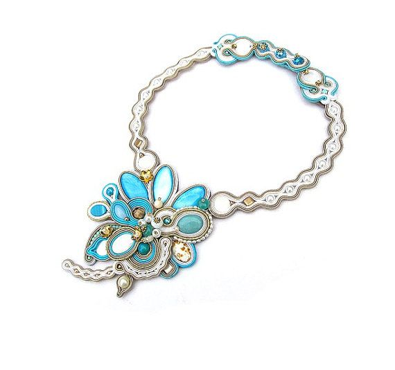 Unique Bridal Necklace Azure Soutache Choker by GiSoutacheJewelry