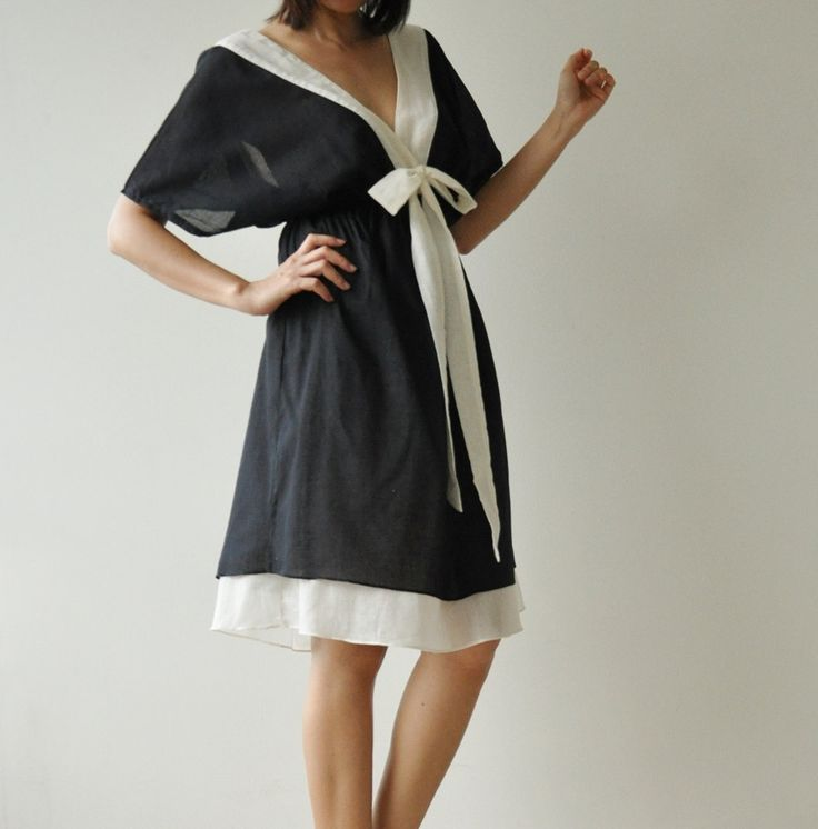 Butter Fly II ...Black and white Cotton Dress. $39.50, via Etsy. I like the style except the bow!!!