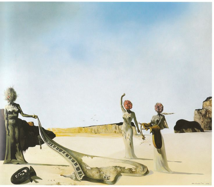 My favorite Dali painting - Three Young Surrealistic Women Holding In Their Arms the Skins of an Orchestra - Salvador Dali