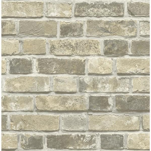 Nextwall Distressed Neutral Brick Vinyl Peelable Wallpaper Covers 30 75 Sq Ft Nw31705 The Home Depot Brick Wallpaper Peel And Stick Brick Wallpaper Faux Brick