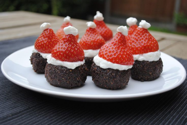 Santa Hat Brownies (this is cute but strawberries aren't exactly in season at Christmas time!)