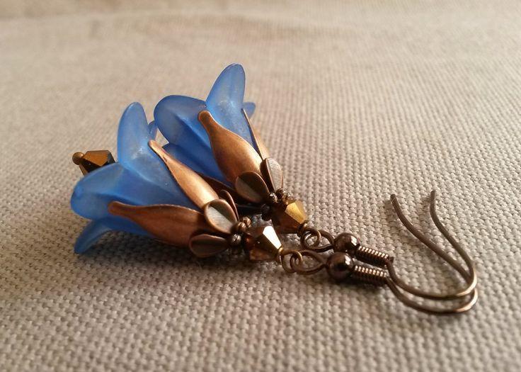 Flower earrings - Fairy dangle earrings - Drop earrings - Lightweight dangle earrings with flowers in blue and copper by IMKdesign on Etsy