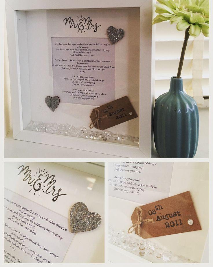 First dance song lyric frame - lovely wedding keepsake #wedding #weddinggift #weddingpresent #customart #etsy #absolutelyscrabulousdesigns #memories #boxframe