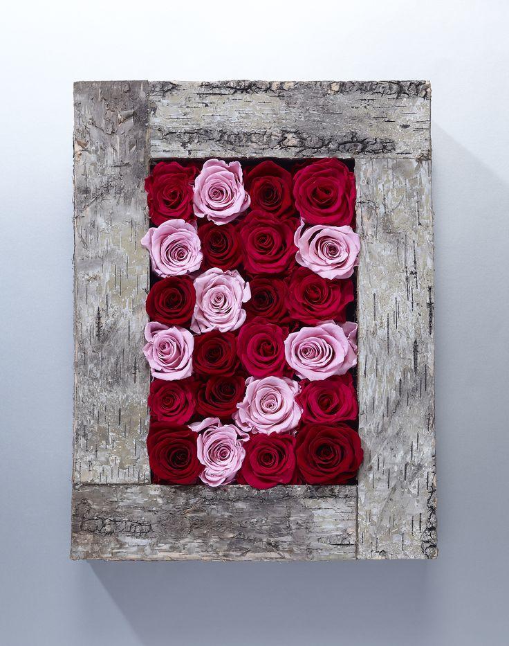 Cadre en bois et roses stabilisées