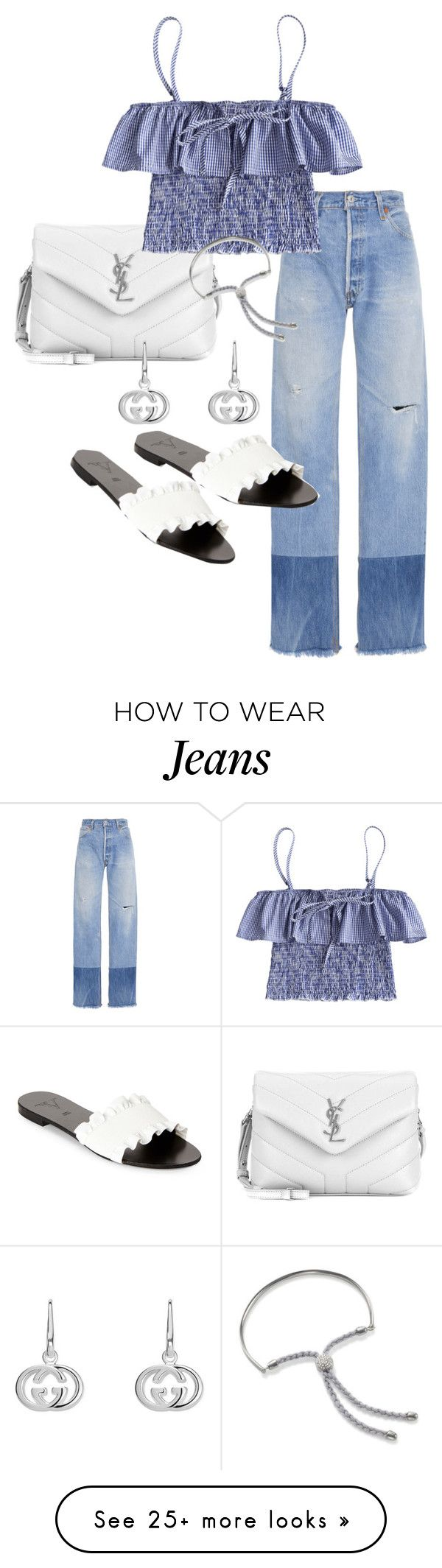 """Untitled #23683"" by florencia95 on Polyvore featuring RE/DONE, Yves Saint Laurent, Victor, Gucci and Monica Vinader"