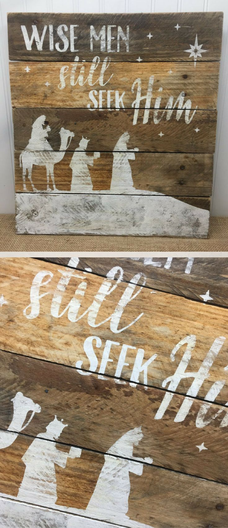 Rustic Pallet Wall Art - Wise Men Still Seek Him Sign - Rustic Christmas Decor - Christmas Gift idea - Wood Wall Sign - Wooden Holiday Sign - Nativity Sign #ad