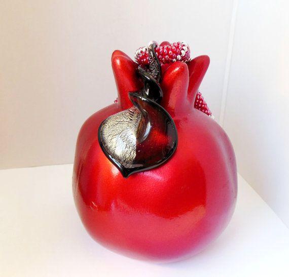 Necklace Murano Lampwork Glass Bicolor Knob Heart red by Reginao, $45.00