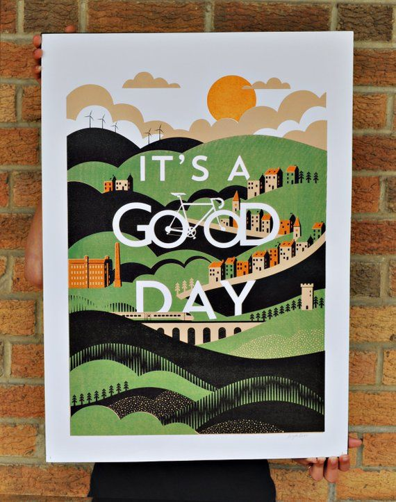 3c53baad Its A GOOD DAY is a 4 colour screen-print, hand printed with water based  acrylic inks on 300gsm, acid-free high quality watercolour paper.