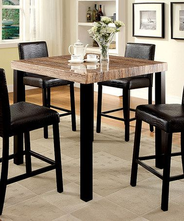 Serendipity Black Clover Contemporary Faux Marble Dining Table
