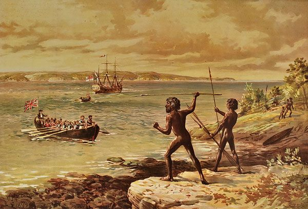 The Landing of Captain Cook at Botany Bay, William MacLeod 1899