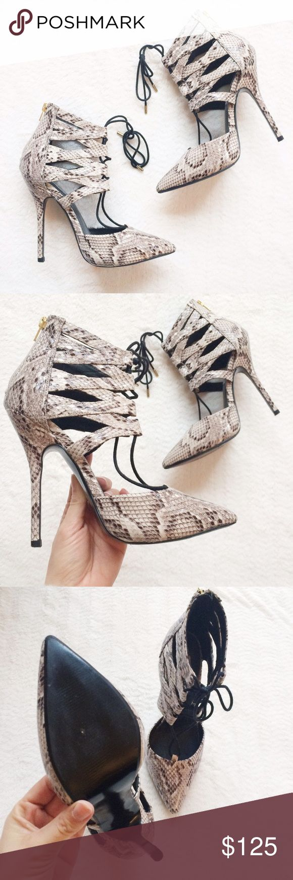 Steve Madden Snakeskin Lace Up Pump Only worn once! Still in perfect condition!! Can ship same day as purchase. Steve Madden Shoes Heels