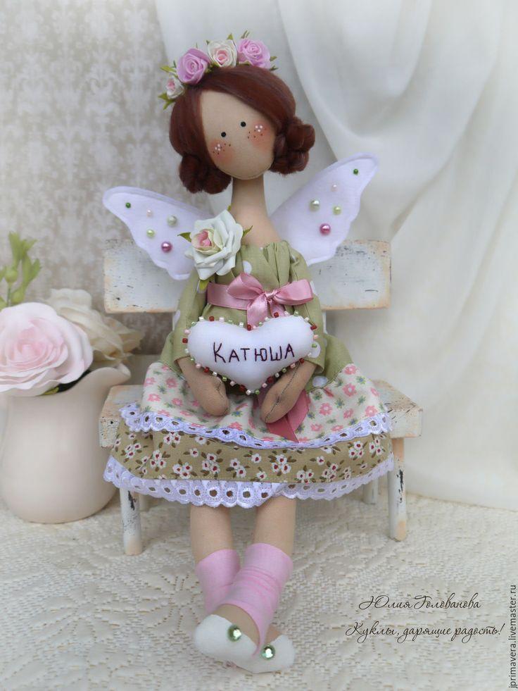 """Купить """"Сердечный ангел"""" именной (текстильная кукла) - текстильная кукла, авторская кукла, тильда"""