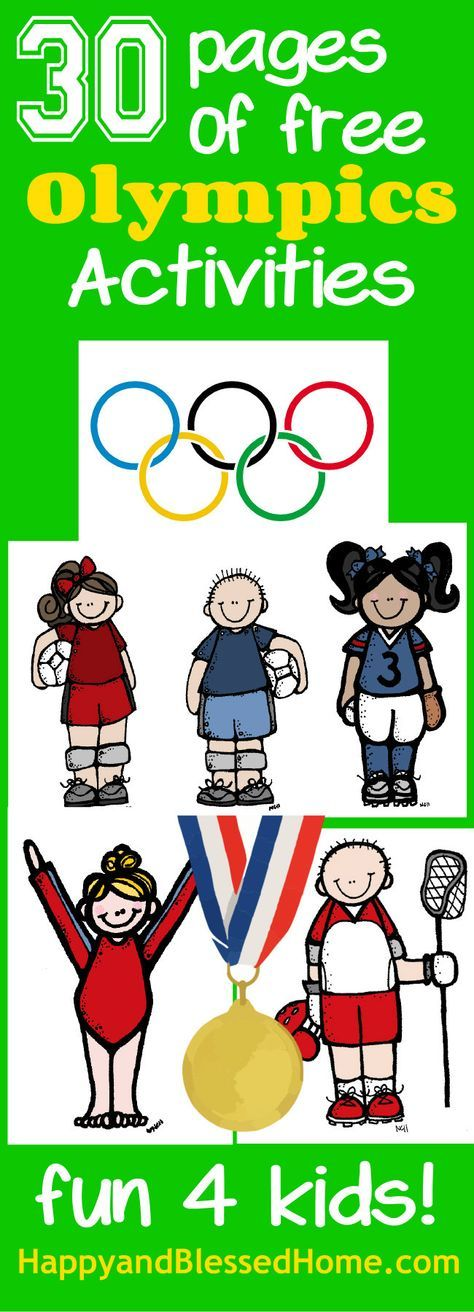 30 Pages of free Olympics Activities -Homeschool Printables for Teachers , Preschoolers, and Kids from http://HappyandBlessedHome.com Focuses on Summer sports and includes worksheets for coloring, matching, tracing, painting, and problem solving. Learning fun for kids!