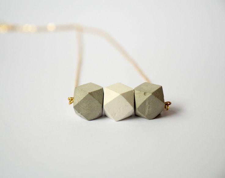 Concrete octagon necklace by gravelanddust on Etsy