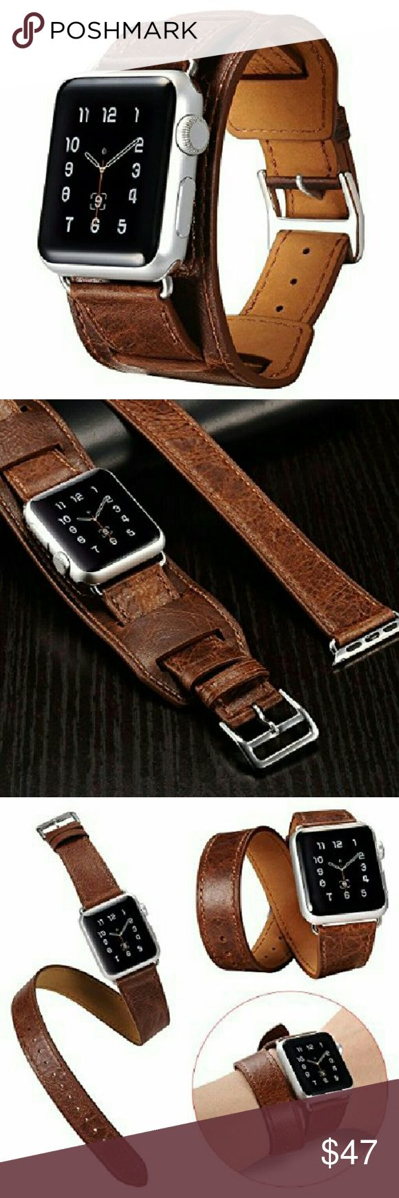 Double Tour Genuine Leather Apple Band BAND ONLY! Apple Watch Leather Band, Icarercase Double Tour and Cuff Genuine Leather Watch Band Strap Replacement iWatch Wristband Link Bracelet with Classic Metal Buckle for Apple Watch (brown for 38mm)      New. Accessories Watches