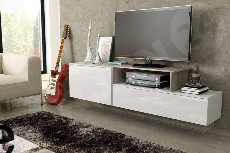 W salonie nie może zabraknąć telewizji. Jak podoba Wam się ta aranżacja? http://www.mirjan24.pl/szafki-rtv/5225-szafka-rtv-wiszaca-gisma-iii.html  #telewizja #salon #czaswolny #mirjan24 #białemeble
