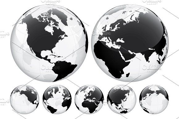 Globe With World Map Transparent Business Icons Vector World