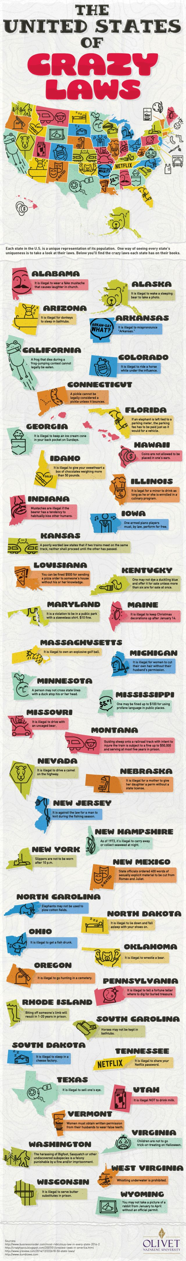 """The graphic highlights the wackiest laws in each state, and while some are certainly antiquated rules that have """"fallen through the cracks,"""" others still apply in 2016."""