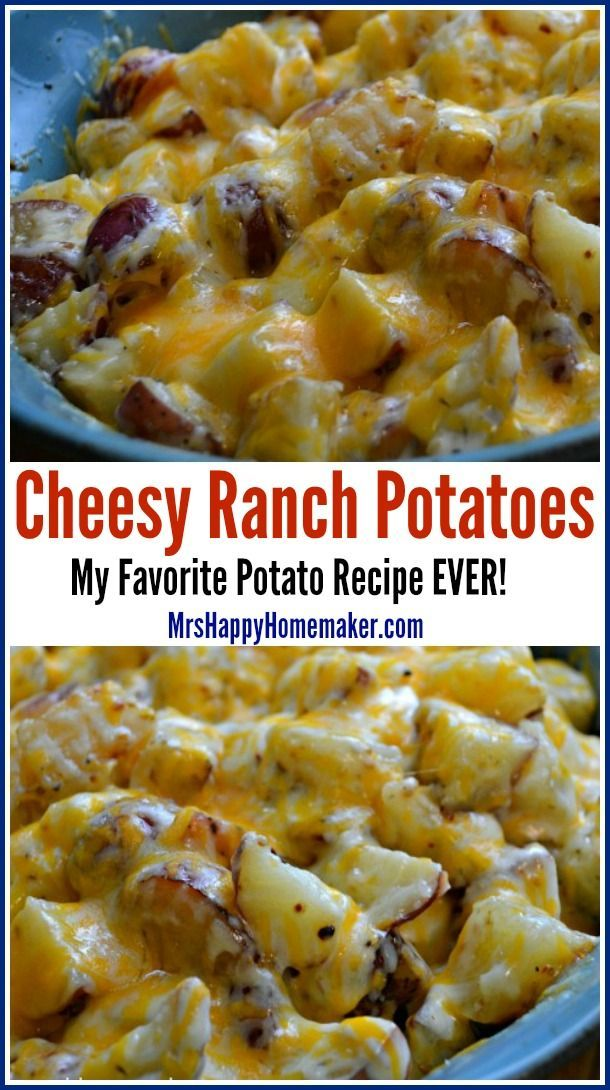Cheesy Ranch Potatoes – these are my favorite potato recipe ever! You only need 3 ingredients & everyone who eats it RAVES about how delicious it is! You can even expand on it by adding things such as chicken, broccoli, peas, etc. | MrsHappyHomemaker.com @thathousewife