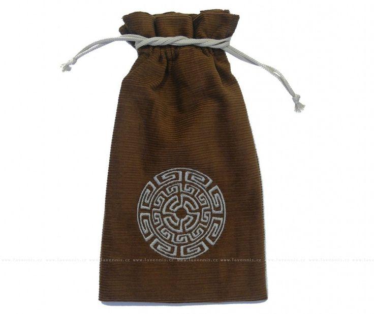 Keltský kruh - hnědý sáček - šedivá výšivka, šňůrka