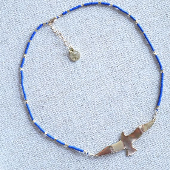 24 k Gold Filled Seagull with Lapis Lazuli and by sophiesimone, $120.00