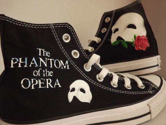 Hand Painted Phantom of the Opera Converse Hi Black Cool Personalised Birthday on Etsy, $145.15