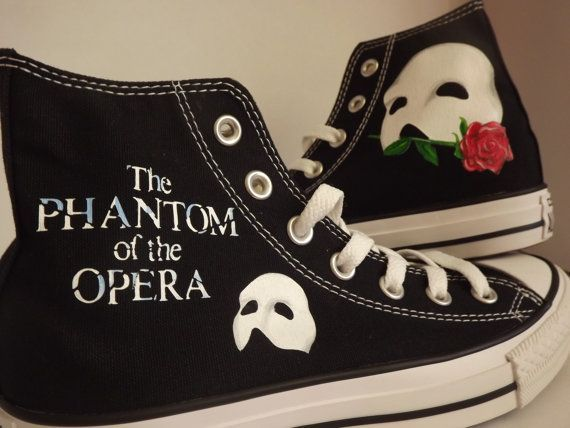 Hand Painted Phantom of the Opera Converse Hi Black Cool Personalised Birthday on Etsy, $145.15