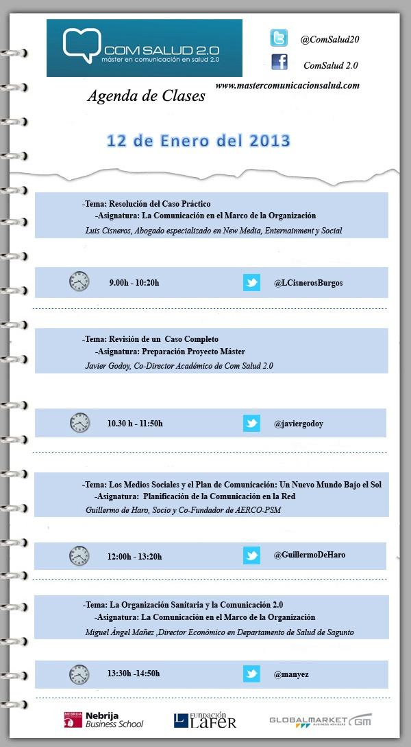 Agenda 12 de Enero del Máster en Comunicación en Salud 2.0 (COMSALUD 2.0)