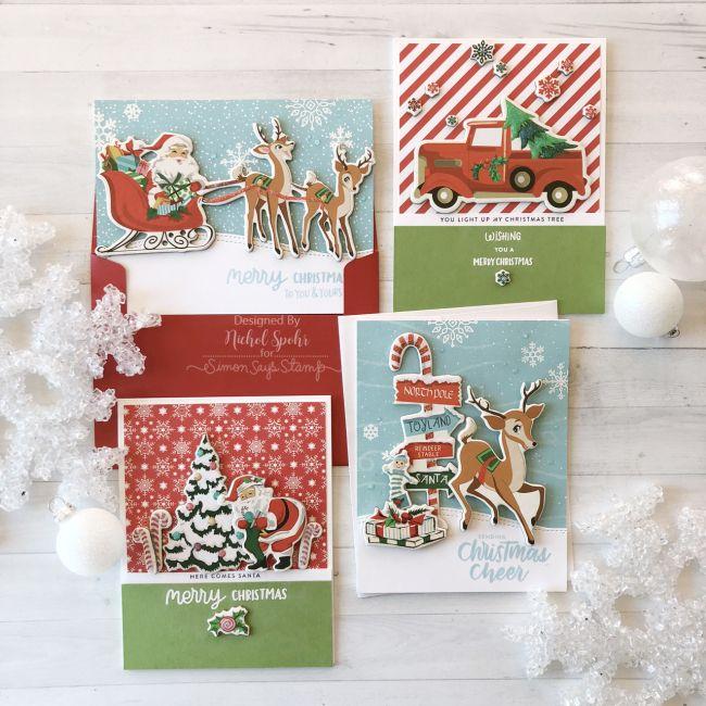 Simon Says Stamp December 2018 Card Kit Quick Easy Cards Christmas Card Making Kits Diy Christmas Cards Card Kit