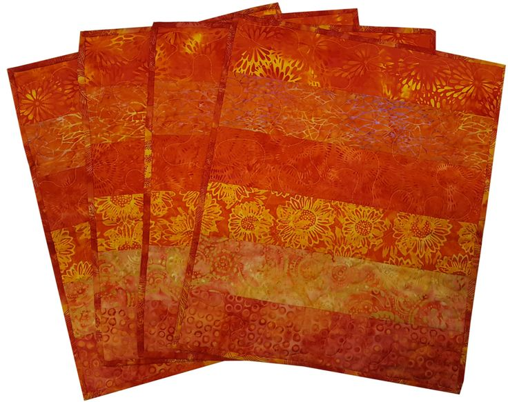 Quilted Placemats in Shades of Orange Batik by Sieberdesigns on Etsy