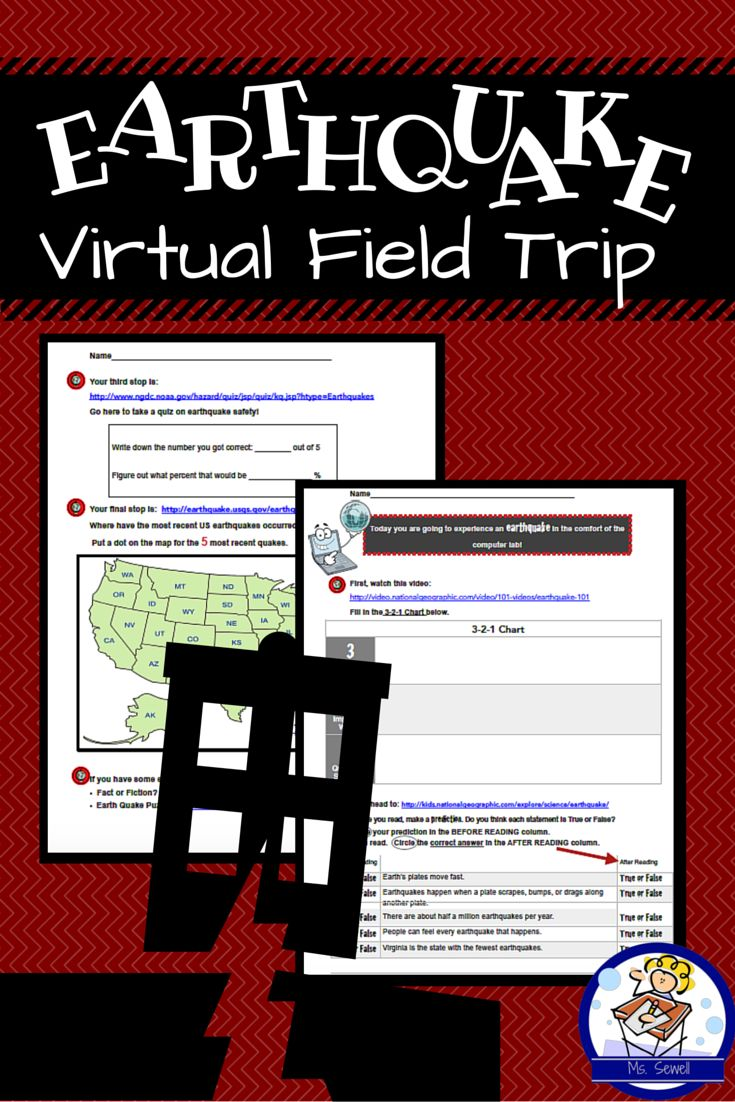 "Want to experience an earthquake from the comfort of your computer lab? Then take your class on a virtual field trip! Students visit four websites focused on earthquakes. They watch a video, read important earthquake facts, chart the most recent earthquake activity in the US, and take an earthquake safety quiz.   As students ""travel,"" they record important information on their graphic organizer. Great way to integration science and language arts objectives!"
