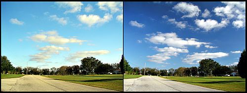 polarizing filter. left = without. right = with. at least now i know what's wrong with my outdoor pics.