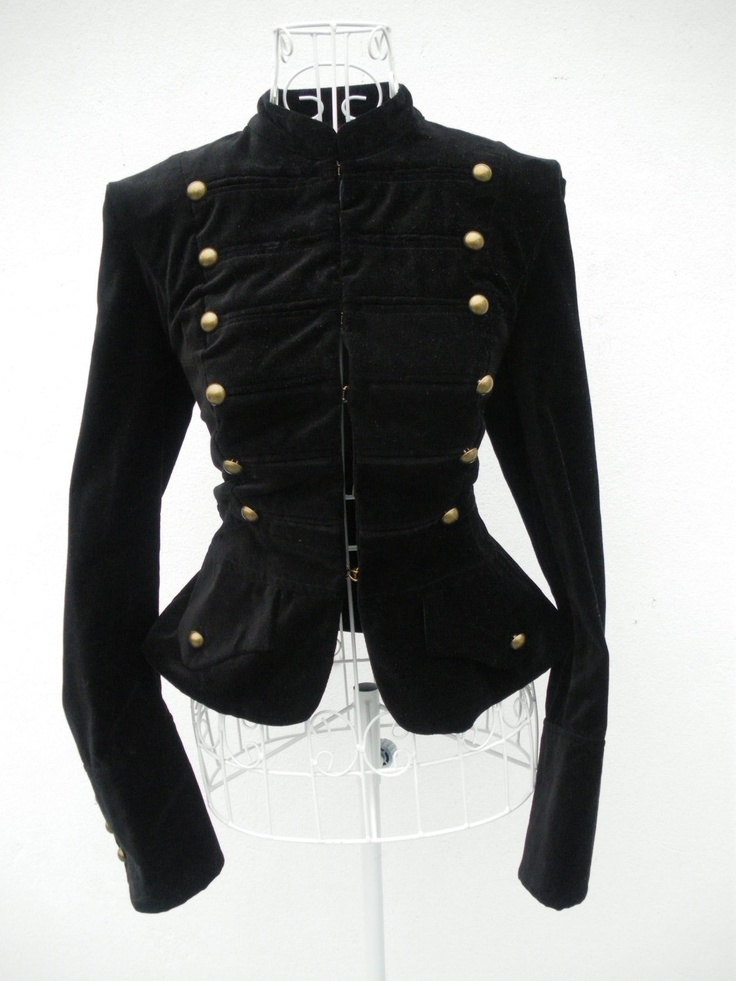 Vintage 80s Black VELVET DANDY Gothic Military jacket russian renaissance jacket Steampunk coat  6 8 XS. $67.00, via Etsy.