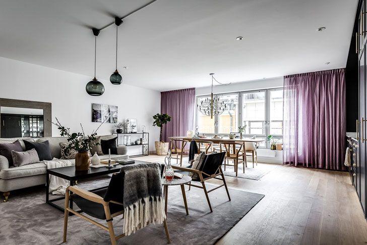 Современный интерьер с фиолетовыми акцентами в Стокгольме (93 кв. м) | Пуфик - блог о дизайне интерьера
