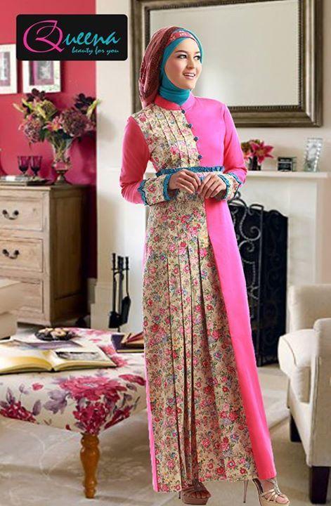 Queena Gamis 073 – berbahan Katun Bangkok kombinasi Katun Jepang   djahit dengan rapi dan halus – 3 Pilihan Warna – Rp. 325.000,- Discount 15% = Rp. 276.000,-