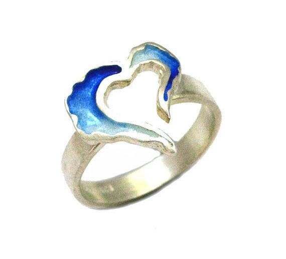 Heart Ring, Red Enamel Heart Ring, Blue Heart Ring, Heart Blue Valentine, Gift for her, Valentine gift