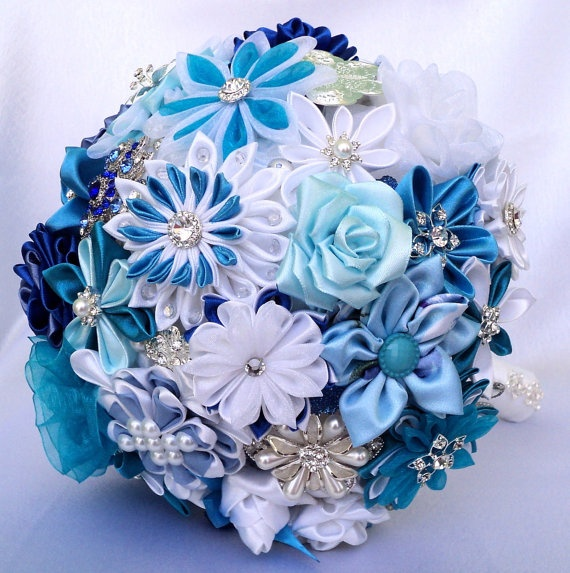 Bridal bouquet brooch bouquet Blue Lagoon by LIKKO on Etsy, $256.00